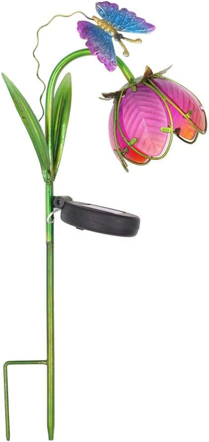 Butterfly /& Flower Garden Solar Stake Light Outdoor Garden Stake Decorative Yard Waterproof for Patio Lawn Pathway Butterfly /& Flower