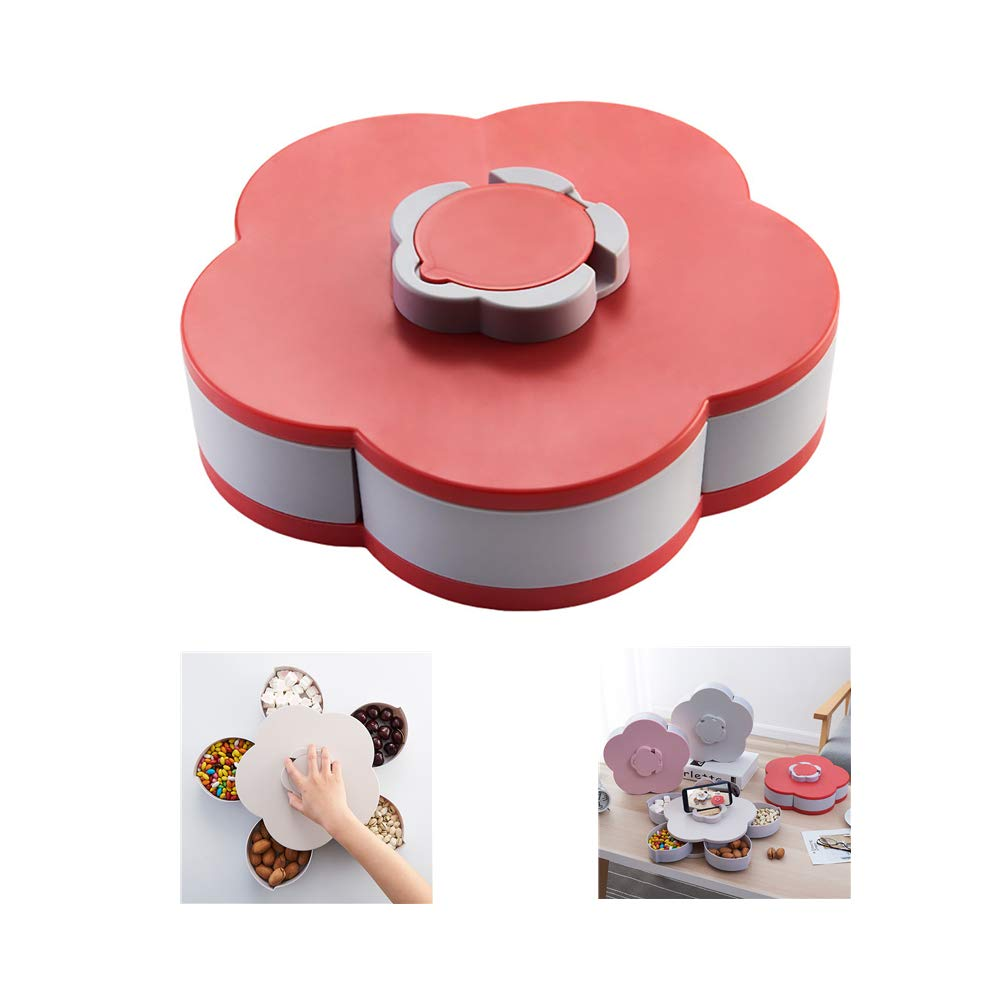 Bloom Rotating Snack Box Flower Design Candy Food Storage Box Jewelry Organizer, Partition Design Wedding Candy Trays,Parties Snack Plate (Red)