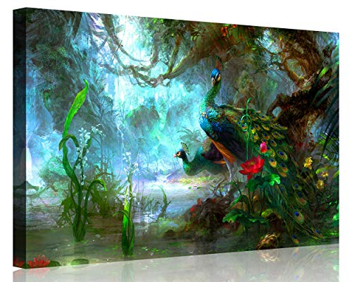 Canvas Print Two Peacocks Walk In Forest Beautiful Wall Art Painting The Picture Print On Canvas Animal Pictures For Home Decor artwork -