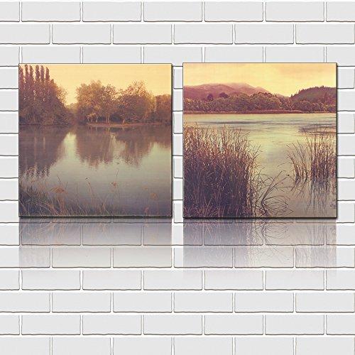 Mon Art 16x16 Inch x2 Pics Vintage Style Forest Lake (Vintage Folk Art Painting)