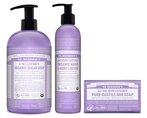 Dr. Bronner's 3-Piece Organic Lavender Gift Set. (1) 24 oz. Sugar Soap (1) 8 oz. Lavender Coconut Lotion (1) 5 oz. Castile Bar Soap (Gift Set Lotion Lavender)