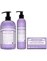 Dr. Bronner's 3-Piece Organic Lavender Gift Set. (1) 24 oz. Sugar Soap (1) 8 oz. Lavender Coconut Lotion (1) 5 oz. Castile Bar Soap
