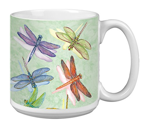 Tree-Free Greetings Extra Large 20-Ounce Ceramic Coffee Mug, Dragonflies Themed Wendy Russell Art (XM29500)