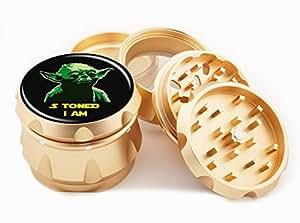 "S Toned I Am Design Premium Grade Aluminum Tobacco,Herb Grinder -4Pcs Large (2.5"" Gold) # GLD-G50-7915-8"
