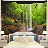 Tushelia Waterfall Tapestry Mountain Cave Forest Tapestry Nature Scenery Tapestry Stone Hollow Landscape Tapestry Wall Hanging Jungle Tree Tapestry Psychedelic Tapestry for Living Room Dorm Decor