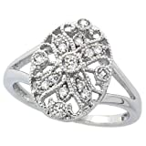 Sterling Silver Rhodium Plated, Vintage Style Filigree Oval CZ Ring ( Size 6 to 9) Size 6