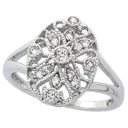 Double Accent Sterling Silver Rhodium Plated, Vintage Style Filigree Oval CZ Ring (Size 6 to 9) Size 7
