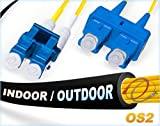 50M OS2 LC SC Indoor/Outdoor Fiber Patch Cable | Duplex 9/125 LC to SC Singlemode Jumper 50 Meter (164ft) | Length Options: 0.5M-300M | FiberCablesDirect - Made In USA | smf lc-sc dx single-mode sc-lc