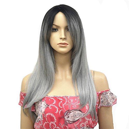 [Aimolee Women Ombre Pastel Grey With Dark Root Long Straight Japenese Kanekalon Wig] (Common Costumes Ideas)