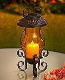 Solar Garden Lanterns (Amber with Candle)