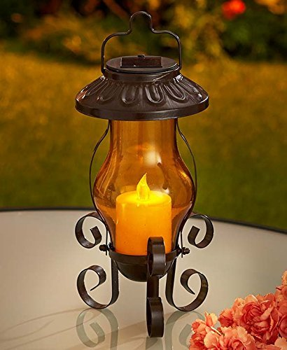 Solar Garden Lanterns (Amber with Candle) by GetSet2Save