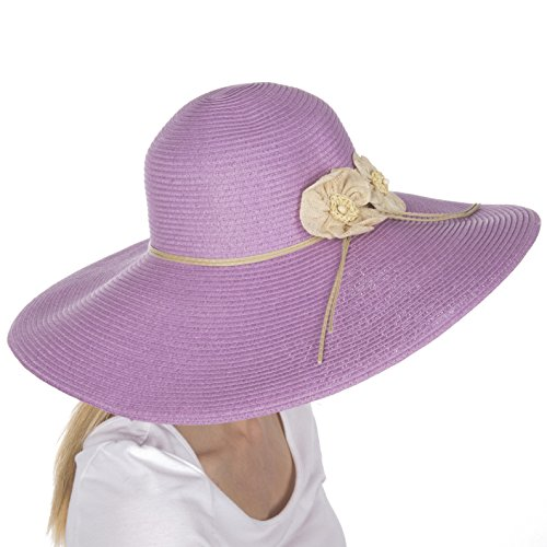 - Sakkas 5241LF Bella UPF 50+ 100% Paper Straw Flower Accent Wide Brim Floppy Hat - Lavender - One Size