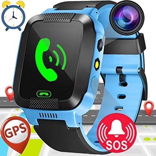 Smartwatch Niños,GPS Tracker Smartwatch Inteligente Relojes para Niños Niñas con cámara de Podómetro con Pantalla Táctil Llamadas SOS Christmas ...