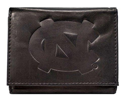 North Carolina Black Leather - North Carolina Tar Heels NCAA Embossed Logo Black Leather Trifold Wallet