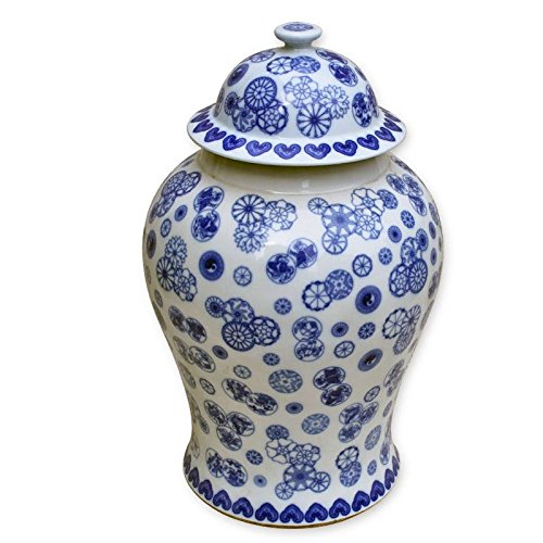 Asian Traditional Chinese Blue & White Cluster Flower Ginger Jar - Large by Legends of Asia