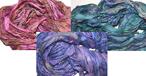 3X10 yards 3 colors Sari Recycled Ribbon Silk Yarn Jewelry Gift Wrap Fair Trade Fiber MixA02