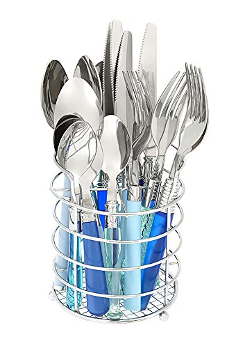 Gypsy Color Mix and Match Lifestyle Cutlery and Eating Utensils Gift Set of 16 pieces, Colorful Flatware Set Sea Green and Blue