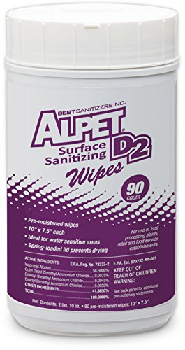Best Sanitizers SSW0001 Alpet D2 Surface Sanitizing Wipes Canister, 90 Count (Case of 6) by Best Sanitizers Inc