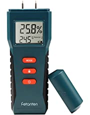 Fetanten Humidité Mètre avec Mouillé Détecteur Testeur Électrique Numérique Multimètre Sensoriel pour Bûches Murs en Bois de Chauffage Planchers en Plâtre Chêne Ciment et Briques 17 Types de Matériaux
