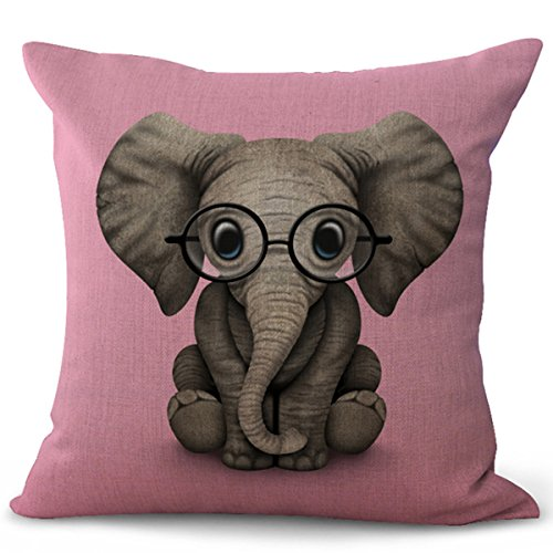 World Linen Pattern - Selcet Lovely Elephant Wearing Glasses to See the Wonderful World Pattern Cotton Linen Blend Decorative Throw Pillow Case Cushion Cover for Couch Home Car Square 18 x 18Inch