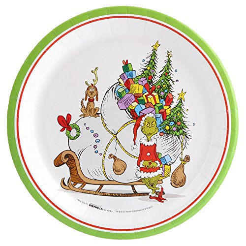 BirthdayExpress Dr. Seuss The Grinch Party Dinner Plates (24) ()