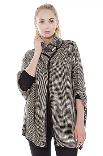 L & T Outcrews Women's Tweed Cape W/Buckle, Short Sleeves, Poncho, Sweater, One Size (Beige) (Knit Tweed)