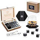Premium Whiskey Stones Gift Set   12 Polished Granite Reusable Ice Cubes   Complete Luxury Handcrafted Set - 12 Stones, Wooden Box, Velvet Bag and Tongs   Perfect Gift for Men (Gift Set with Coasters)
