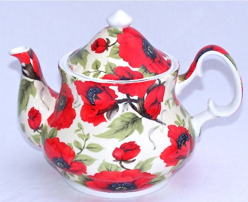 Fine English Bone China Teapot - 6 Cup - Red Poppy Chintz - England