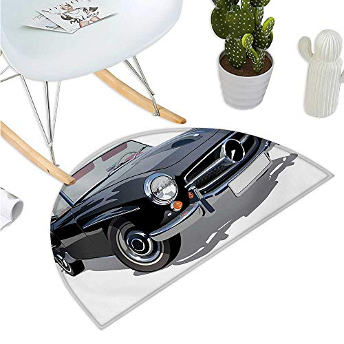 (Cars Semicircular Cushion Classical Retro Vehicle Antique Convertible Prestige Old Fashion Revival Entry Door Mat H 15.7