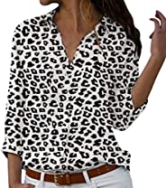 FarJing Women Plus Size Loose Printed V-Neck Button Blouse Pullover Long Sleeve Tops Shirt