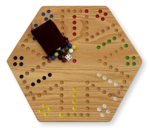 (Oak Hand-painted Double-sided Aggravation Game Board, 16