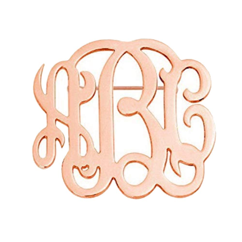 MANZHEN Personalized Custom Monogram Brooch Pins Customized Made with Any Initial (Rose Gold)