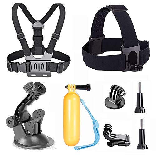 TEKCAM Action Camera Accessory Kits Bundle Head Strap Chest Harness Car Mount Floating Hand Grip Compatible with Gopro Hero 7 6 5/AKASO EK7000 Brave 4 4K/Crosstour/Campark/APEMAN 4k Waterproof Camera