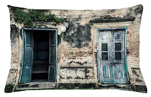 Ambesonne Rustic Throw Pillow Cushion Cover, Doors of Old Rock House with French Frame Details in Countryside European Past Theme, Decorative Accent Pillow Case, 26 W X 16 L Inches, Teal Grey