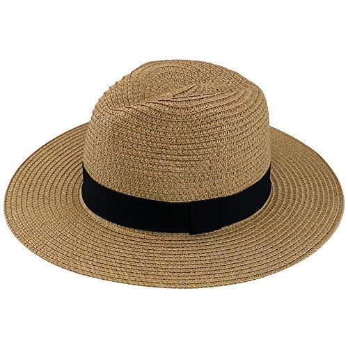 Yoobure Women Straw Fedora Hat, Panama Beach Sun Hat Summer Wide Brim Straw Floppy Hat UPF 50+ Khaki
