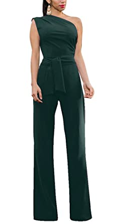 efec1476877b Amazon.com  Annystore Women Sexy Sleeveless High Waist Solid One Shoulder  Jumpsuit Romper with Belt  Clothing