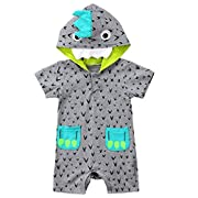 Emmababy Cute Infant Baby Boys Short Sleeve Bodysuit Romper Hooded Jumpsuit One Piece Toddler Clothes (Grey, 12-18Months)