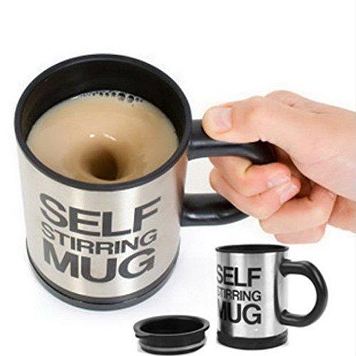 Xiaolanwelc@ Self Stirring Coffee Cup Mugs Double Insulated Coffee Mug 400 ML Automatic Electric Coffee Cups Smart Mugs Mixing Coffee Cup (black)