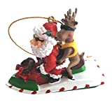Christmas Ornament Santa Riding a Jet Ski with a Reindeer