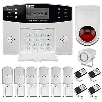 BW LCD Seguridad inalámbrica GSM Autodial SMS Call Home Casa antirrobo alarma contra intrusos: GSM Alarm Control Host + Sirena exterior + PIR Detector ...