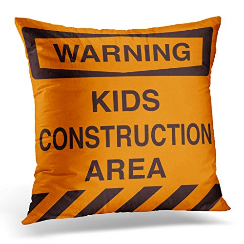 VANMI Throw Pillow Cover Orange Truck Construction Zone Boy Bedroom Nursery Decorative Pillow Case Home Decor Square 18x18 Inches (Construction Zone Throw Pillow)