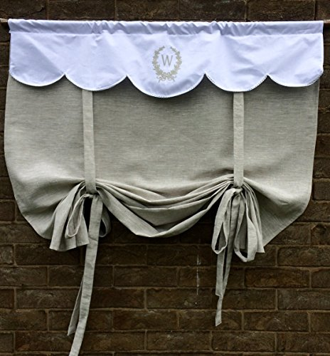 Personalized French Tie Up Curtain Grey Natural Flax Linen Door Custom Monogram