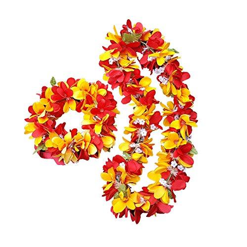 Silk Plumeria Lei Plumeria Haku - Hawaiian Lei Hawaiian Haku - Hawaiian Wedding Lei Hawaiian Party Lei Hawaiian Costume Lei - Graduation Lei - Flower Lei Haku Set - 2 Items (Sunset (Hawaiian Beauty Costume)
