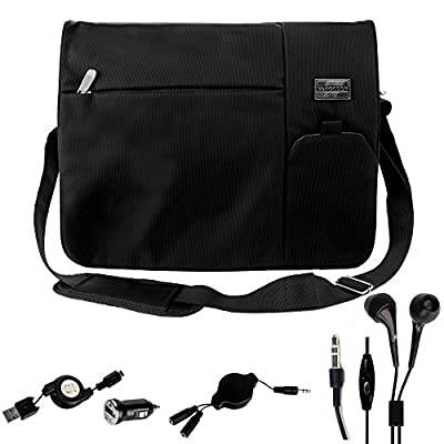 "Tote Sling Messenger Pack Briefcase Bag for Microsoft Notebook Surface / Surface Book 13.5"" Combo with Micro USB Cable and Mini USB Car Charger and Headphone Cord"
