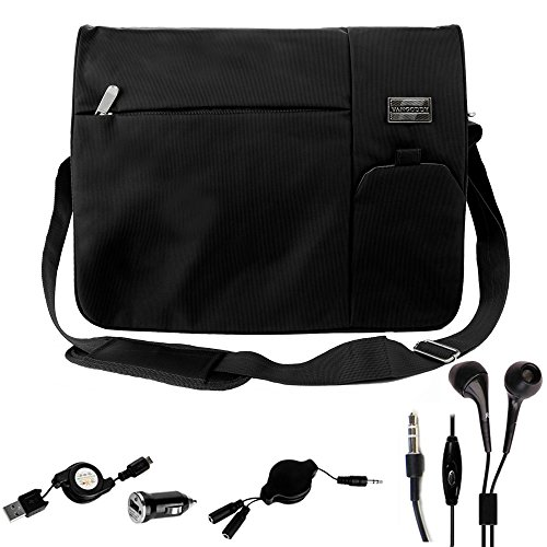 Night Blades Charger (Back to School Protective Shoulder Messenger & Sling Bag Black for Razer Blade 14