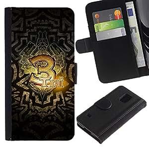EJOY---Tirón de la caja Cartera de cuero con ranuras para tarjetas / Samsung Galaxy S5 V SM-G900 / --3 Tri tótem tribal