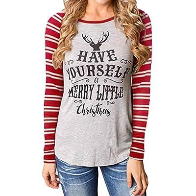 WILLTOO Women Christmas Cotton Long Sleeve Shirt Tops