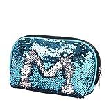 YJYdada Mermaid Sequin Pencil Case Cosmetic Makeup Coin Pouch Storage Zipper Purse (Sky Blue)