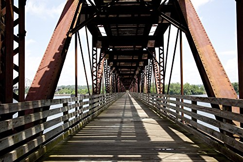 Posterazzi Poster Print Collection Old Railroad Now a Walking Bridge Across the Tennessee River Muscle Shoals Alabama, (24 x 36), Multicolored from Posterazzi