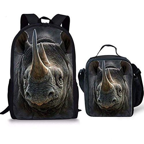 HUGS IDEA Rhinos Animal Pattern Children School Backpack Set Lightweight Travel Pack Student School Bag with Lunchbox